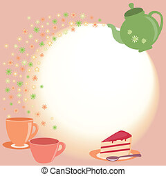 Tea card with teapot, cups and flowers - Bright tea card...