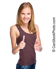 Young girl is showing thumb up gesture using both hands,...