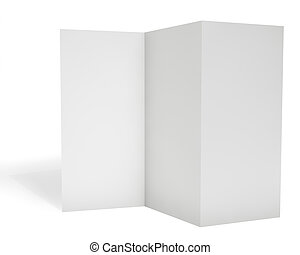 Blank triple leaflet template isolated on white background