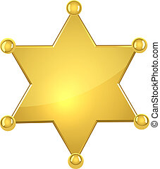 Blank golden sheriff star isolated on white background.
