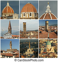 florentine roofs collage, Florence, Tuscany, Italy, Europe