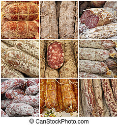 traditional sausage collage, images from italian farmer...