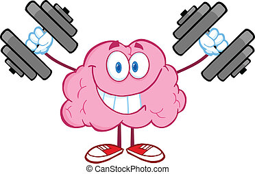 BrainTraining With Dumbbells - Smiling Brain Cartoon...