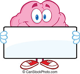 Brain Holding A Banner - Brain Cartoon Character Holding A...