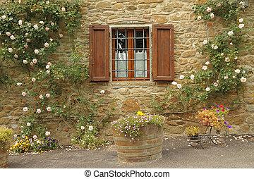 idylliczny, okno, Róże