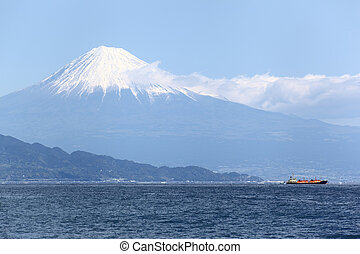 Mt. Fuji - A ship at Suruga Bay and Mount Fuji