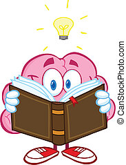 Brain Reading A Book - Smiling Brain Cartoon Character...