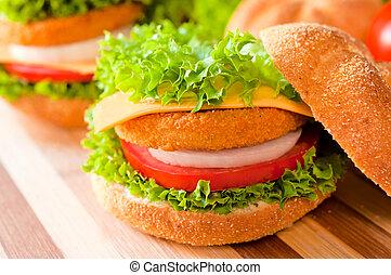 frito, pez, hamburguesa