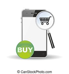 shopping search icon - mobile commerce or mcommerce symbol...