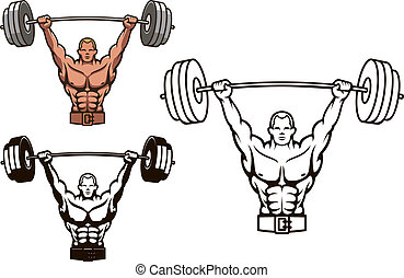 Bodybuilder with barbell for sports mascot or health concept...