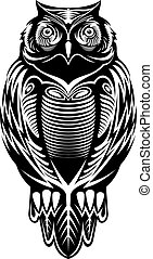 Majestic owl bird for mascot or tattoo design