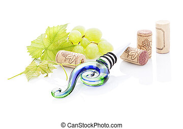 Wine stopper. - Wine stopper, green grapes, vine leaves and...