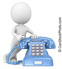 Call - The Dude pointing at a classic telephone Blue with...