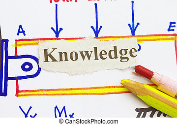 knowledge newspaper cutout with engineering sketch...