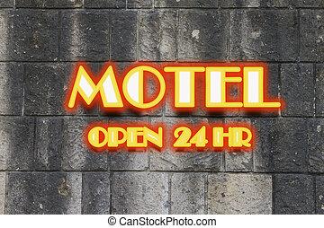 Motel neon light Sign open 24 hr.