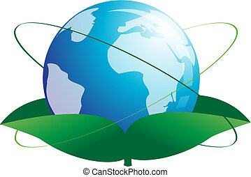 Growing World globe - World globe growing like a plant,...