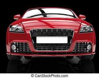 Red Powerful Car On Black - Extremly high resolution 3D...