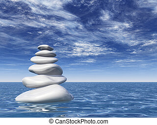 pebbles tower - pile of stones at water - 3d illustration