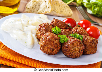 Meatballs - meatballs with potato salad