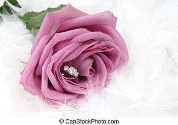 Ring in Rose - Wedding Ring in Rose, with feathers