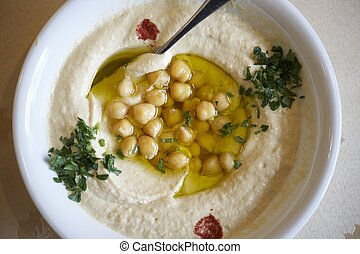 A plate of hummus