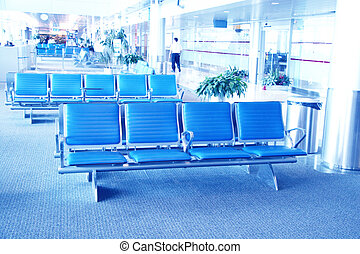 Inside airport - airport seating in big airport