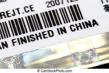 A label with Finish in China title