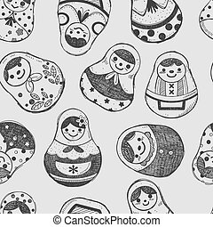 seamless doodle Russian Doll pattern