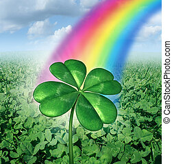 Luck Concept - Luck concept with a four leaf clover over a...