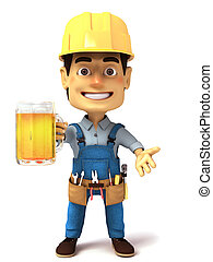 3d handyman with glass of beer