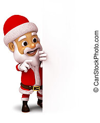 Santa Claus with blank paper - 3d illustration Santa Claus...