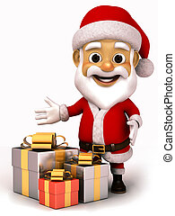 3d Santa Claus with a gift