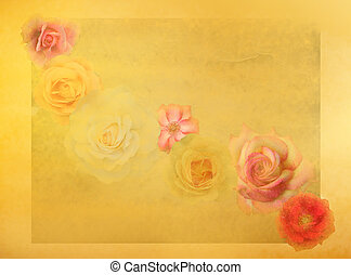 Old fashioned roses on grunge colorful background