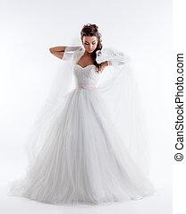 joli, mariée, poser, élégant, robe, voile