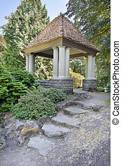 Gazebo with Natural Stone Steps at Public Garden