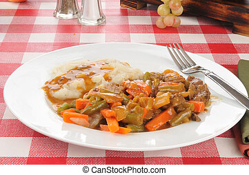 Pot Roast - Delicious pot roast with vegetables and mashed...
