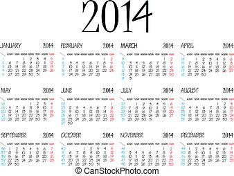 simple calendar 2014 over white background, abstract vector...