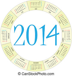 round calendar 2014 over white background, abstract vector...