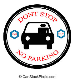 No parking - Stamp with text no parking inside, vector...