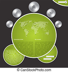 Website template with metallic buttons and world map