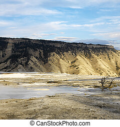 Yellowstone National Park. - Mountains with barren valley at...