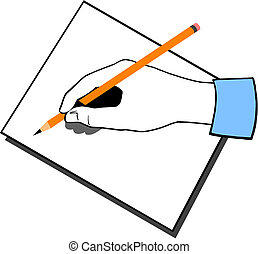 Writing hand with pencil