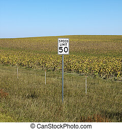 Rural speed limit sign. - Speed limit sign in front of rural...