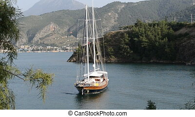 Yacht on Mediterranean turkish resort, Fethiye, Turkey