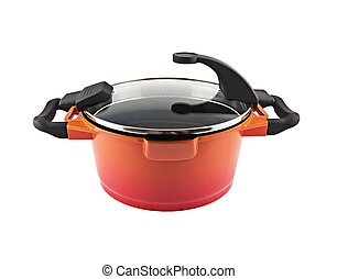 Saucepan - Orange saucepan isolated on white background
