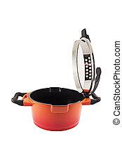 Saucepan - Orange saucepan isolated on white background