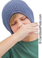 Sick young boy on white background
