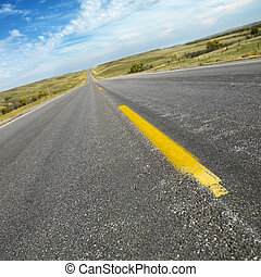 Two lane road South Dakota. - Diagonal view of two lane road...
