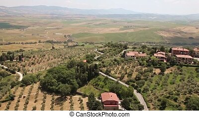 Panoramic view of Castiglione d'Orcia town. Tuscany, Italy