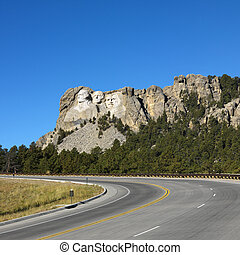Mount Rushmore Memorial. - Front view of Mount Rushmore...